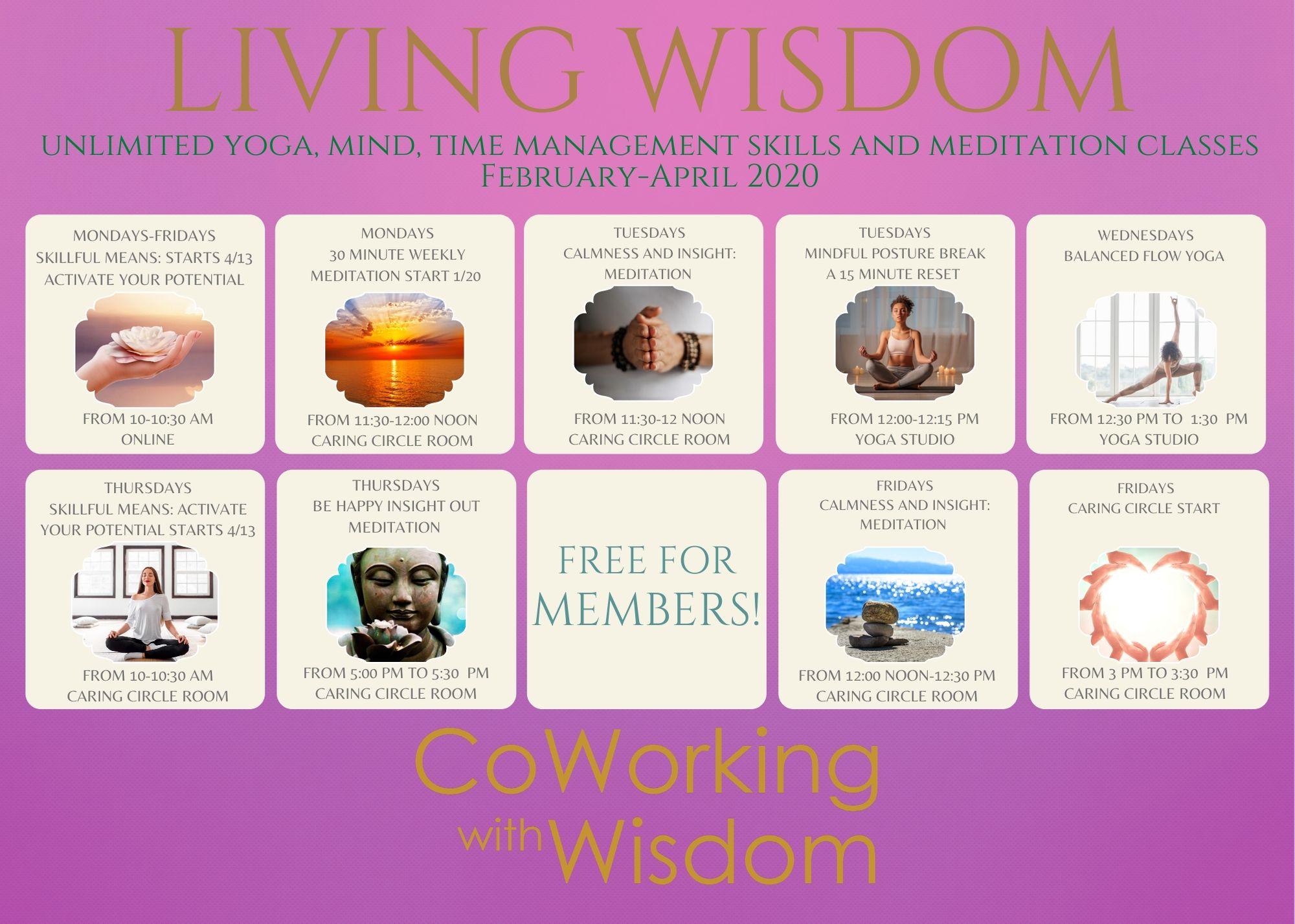 Living Wisdom Spring 2020 Classes